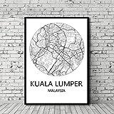 UDIYXC Malaysia Schwarzweiss Stadtplan Poster Leinwanddruck