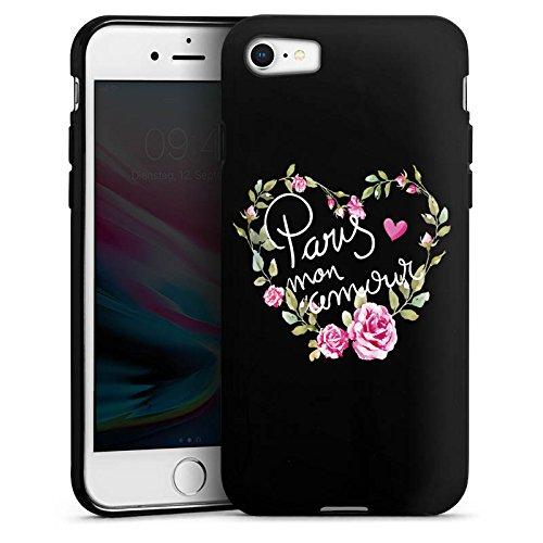 Apple iPhone 7 Silikon Hülle Case Schutzhülle Paris Mon Amour Spruch ohne Hintergrund Silikon Case schwarz