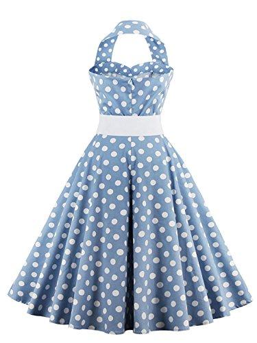 VKStar®Retro Chic ärmellos 1950er Audrey Hepburn Kleid / Cocktailkleid Rockabilly Swing Kleid Hellblau