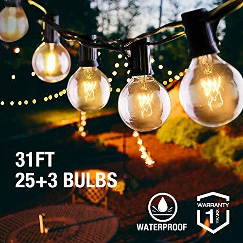 VIFLYKOO Lichterkette Außen,Lichterkette Glühbirnen Aussen G40 Wasserdichte Beleuchtung mit 31FT 28 Garten Lichterkette Dekoration für Garten, Hochzeit Party,Weihnachten - Warmweiß