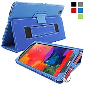 Snugg Galaxy Tab PRO 8.4 Case – Smart Cover with Flip Stand & Lifetime Guarantee (Electric Blue Leather) For Samsung Galaxy Tab PRO 8.4