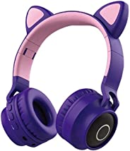 Cat Ear Wireless Headphones, Lesgos Leather Earmuffs Prevent Noise, LED Light Up Volume Limiting Kids Safety Foldable On-Ear