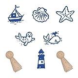 Stempelset für Seeleute/ Stempel Meer Motivstempel mit verschiedenen Motiven Stempel mit Motive zum Thema Seefahrt / Meer für Stempelchen ohne Stempelkissen Bauernhofstempel