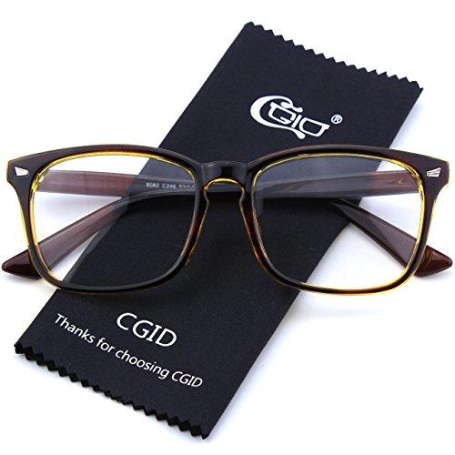 CGID CN82 Lunettes à monture d'écailles et verres transparents UV400 monture audacieuse oversized grosses Brown Gold