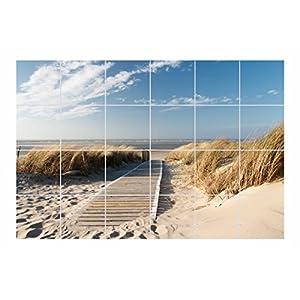 FoLIESEN Fliesenaufkleber für Bad und Küche - Fliesenposter - Motiv- Weg zum Strand - Fliesengröße 20x25 cm (LxH) - Fliesenbild 120x75 cm (LxH)