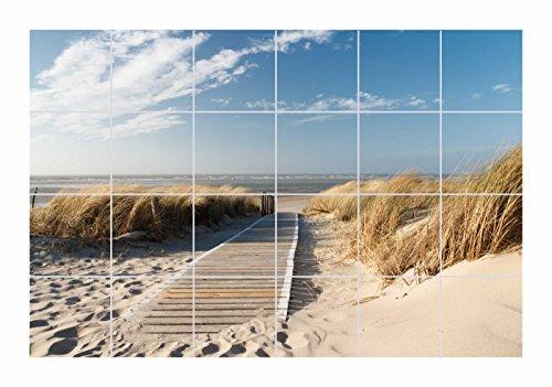 FoLIESEN Fliesenaufkleber für Bad und Küche - Fliesenposter - Motiv- Weg zum Strand - Fliesengröße 15x20 cm (LxH) - Fliesenbild 60x40 cm (LxH)