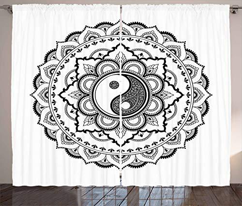 ABAKUHAUS Schwarz und weiß Rustikaler Gardine, Mandala-Blumen, Schlafzimmer Kräuselband Vorhang mit Schlaufen und Haken, 280 x 245 cm, Weiß und Schwarz (Weiße Und Schwarze Blumen-vorhänge)