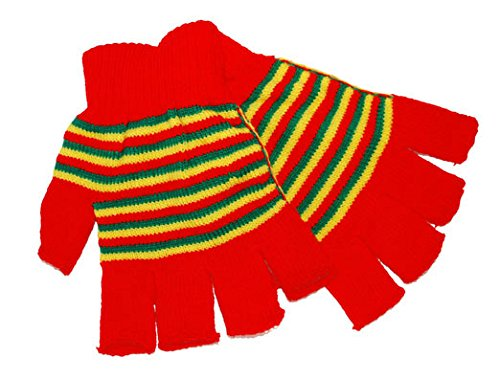 Red Yellow Green - Handschuhe fingerlos - rot/gelb/grün - Einheitsgröße Erwachsene - Karneval Kostüm Zubehör Accessoires Clown - - Clown Kostüm Und Zubehör