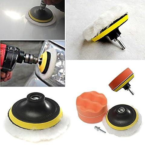 Fomccu 10,2cm brut mémoire tampon de polissage Pad Kit avec adaptateur pour perceuse pour auto Body fenêtre polisseuse outils Accessoires