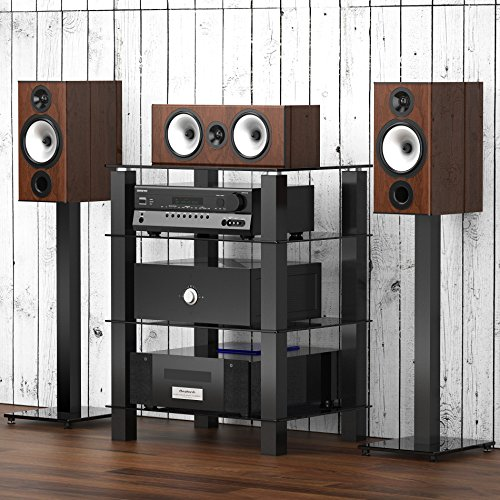 FITUEYES TV Rack Hifi Regal Audio Schrank mit schwarz Glas und Alu AS406002GB - Tv-regal