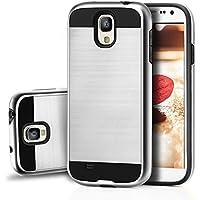 tinxi® Höhequalität Schutzhülle für Samsung Galaxy S4 5,0 Zoll Hülle Rutschfest Shock Proof Rück Schale Cover Case Schutz aus PC RückSchale mit silikon Rand sowie Innenschale Silber(nicht für Samsung Galaxy S4 active)
