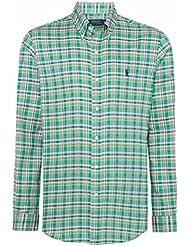 Polo by ralph lauren chemise pour homme vert/bleu à carreaux-coupe ajustée