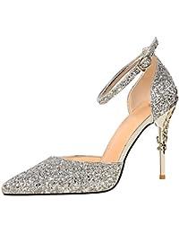 wealsex Escarpins Sandales Paillette Femme Talon Haut Aiguilles Sexy Bout  Pointu Bride Cheville Boucle Chaussure Elégant 92e95b8a1081