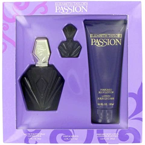 Passion by Elizabeth Taylor for Women 3 Pc Gift Set 2.5oz EDT Spray, 3.7ml Parfum Replica, 6.8oz Perfumed Body Lotion by ELIZABETH TAYLOR