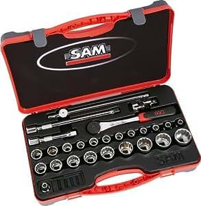 """SAM Outillage 75-S27A Coffret de douilles/accessoires 1/2"""" 27 Outils de 8 à 32 mm"""