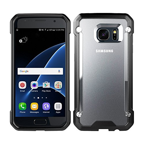 Samsung Galaxy S7 Edge Case, Ziaon Air Series Shock proof Anti-Drop Back Cover with Scratch Resistant Quoting Case Hybrid TPU Black Bumper Case For Samsung Galaxy S7 Edge Case – Semi Transperant + Black