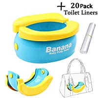 Travel Potty Baby Foldable Portable Toilet Seat, Training Toilet Seat With 20pcs Disposable Liners For Boys Girls Toddler, Novelty Yellow Banana Baby Comfy WC Potty Chair