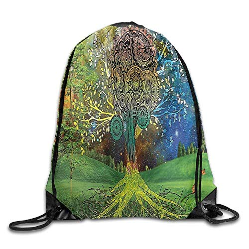 Tree In The Valley with Spiral Branch Balance In Mother Earth Zen Art Drawstring Gym Sack Sport Bag for Men and Women