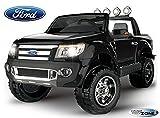 Kinderfahrzeug Kinder Elektro Auto Ride On Ford Ranger schwarz mit Licht und Sound 12V 2xMotoren mit Fernbedienung