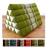 Asia Wohnstudio Großes Dreieckskissen als Rückenstützkissen, Thaikissen bzw. Keilkissen, Nackenkissen fürs Bett (grün)