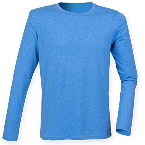 Skinnifit Herren langärmelige T-Shirt Stretch SF124 Mehrfarbig - Heather Blue