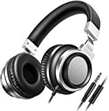 Sound Intone I8 Bass Stereo Headphones with Microphone Adjustable Over-Ear Headsets for iPhone/iPad/iPod/Android Smartphones (Black Silver)