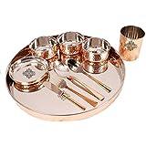 """Indian Art Villa Hammered Steel Copper Thali Dinner Set, Tableware & Dinnerware,10 Pieces, 10.2"""" Inch"""