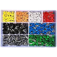 LoveOlvido Kits de terminales 800PCS Terminales tubulares VE Surtidos Terminales de Conector de Cable de crimpado Aislado Terminador de crimpado eléctrico - Multicolor