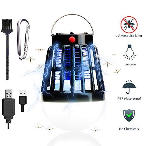 TBoonor UV Insektenvernichter 2 in 1 Mückenlampe & Campinglampe Solar/USB Wiederaufladbar Tragbare Mückenkiller Campinglampe für Innen und Außen -