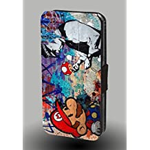 Mushroom Funny Mario London Police Faux Leather Phone Case for iPhone X