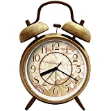 ANG ®4 Silent Quartz Analog Quiet Non-ticking Retro Vintage Classic bedside Twin Bell Alarm Clock With Loud Alarm and Nightlight (Bell D) by ANG