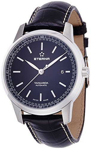 Eterna Men's Tangaroa 42mm Black Leather Band Steel Case Sapphire Crystal Automatic Watch 2948-41-41-1261