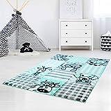 carpet city Kinderteppich Hochwertig mit Karo-Muster, Tieren/Hund, Katze, Kuh, Giraffe in Pastell-Türkis mit Konturenschnitt, Glanzgarn für Kinderzimmer Größe 120/170 cm