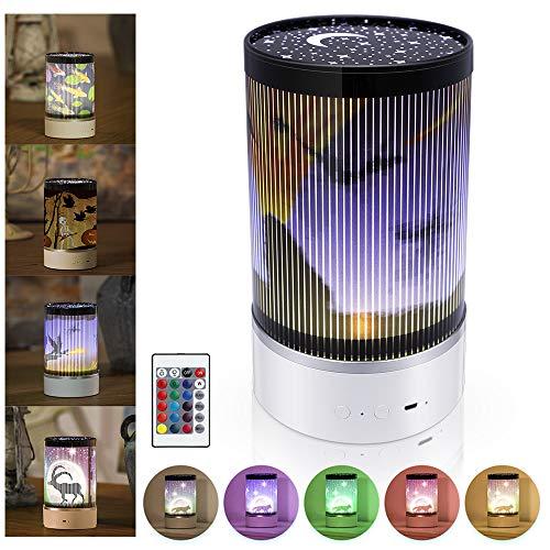 EXTSUD Projektionslampe Halloween Licht Projektor Lampe mit 4 Filme Bilder und Fernbedienung Wiederaufladbare Handheld Nachtlicht Kinderlicht Geschenk für Halloween Weihnachten Neujahr
