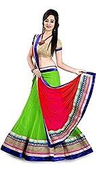 Jay Varudi Creation Women's Net Lehenga Choli (Green)