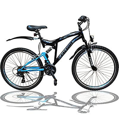 24 Zoll Mountainbike Fahrrad Mit Vollfederung & Beleuchtung 21-gang Shimano Oxt Black