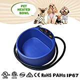 ZUOAO 35W Riscaldata Pet Bowl, Dato l'acqua e il Cibo caldo per i Vostri Cani e Gatti Durante Gita all'aperto, Sicurezza e sostenibile, 25 * 12 cm