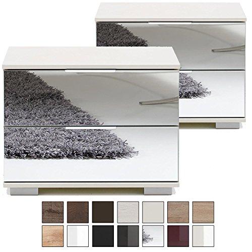 Nachttisch Kommode Spiegel (e-combuy Möbel 2er Set Nachtkommode Nigo, 2 Schubladen, Höhe 40 cm, Nachtkonsole für Futonbetten, Spiegel-Front, Weiß)