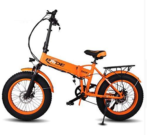 """TX Bici elettrica 48V10A Elettrico 20\""""4.0 Fat Tire ebike Pieghevole in Alluminio 350 W Potente Bicicletta elettrica Mountain/Neve/Spiaggia, Gialla"""