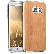 kwmobile Étui transparent pour Samsung Galaxy S7 edge Housse de protection en TPU silicone design IMD - cover souple pour portable Design Bois de cerisier