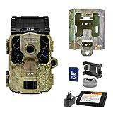 SpyPoint Wild-/Überwachnungskamera SOLAR-EU inklusive Lithium-Akku SD-Karte und Metallschutzgehäuse Outdoor, Camouflage Metallgehäuse