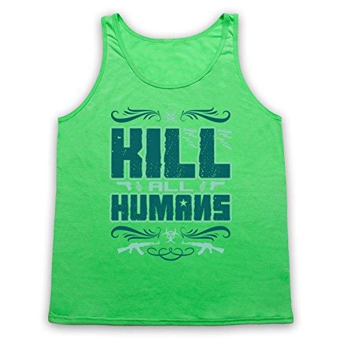 Kill All Humans Funny Slogan Tank-Top Weste Neon Grun