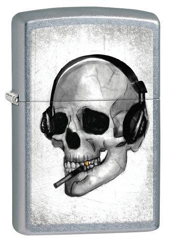 Zippo Feuerzeug 60002470 PL Headphone Skull Benzinfeuerzeug, Messing, Street Chrome, 1 x 3,5 x 5,5 cm