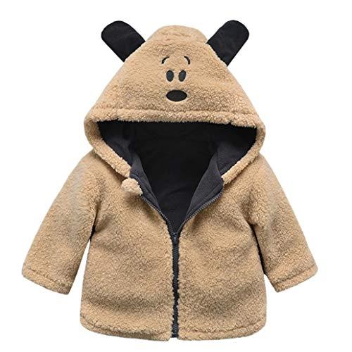 Hukz Unisex Baby-Herbst Winter Kapuzenmantel Jacke Dicke Warme Kleidung (Gelb, 18-24M)