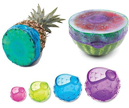 Groß Gummi-lagerung-container (RENZE Safe Food & Container Frisches Cover rund Silikon Obst & Gemüse Schnell mühelose Lagerung für längere Frische, 4 Stück)