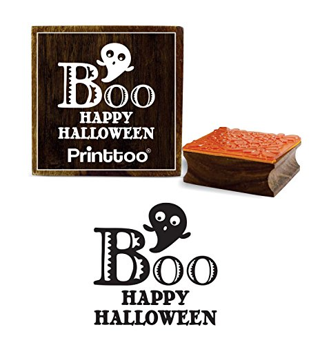 Printtoo Boo Happy Halloween Wort Design Brown Square Holz Stempel Block-2 x 2 Zoll