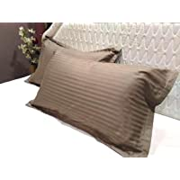 Trance Home Linen 100% Cotton Pillow Covers (18X28-inch, Brown Grey) - Pack of 2