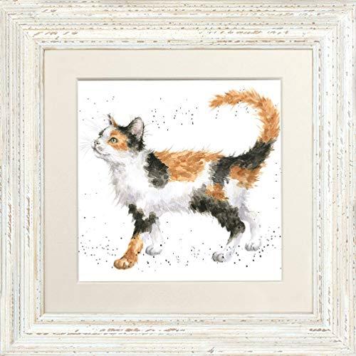 Wrendale Designs Gerahmtes Bild Calico Cat Schildpatt Katze - Distressed White