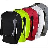 Quick Dry T-shirt, ADiPROD Men's Pro Long Sleeve Training Workout Football Soccor Cycling Polyester Jersey Clothing Shirt Sports