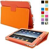 Étui pour iPad 2, Snugg™ - Housse de Protection en Cuir Orange, Style Smart Case Avec Garantie à Vie Pour Apple iPad 2